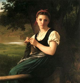 Detalle de Chica tejiendo (1869)