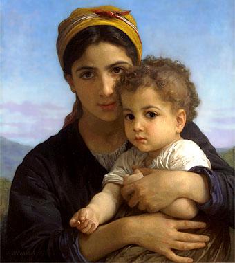 Joven con niño (1877), de Bouguereau