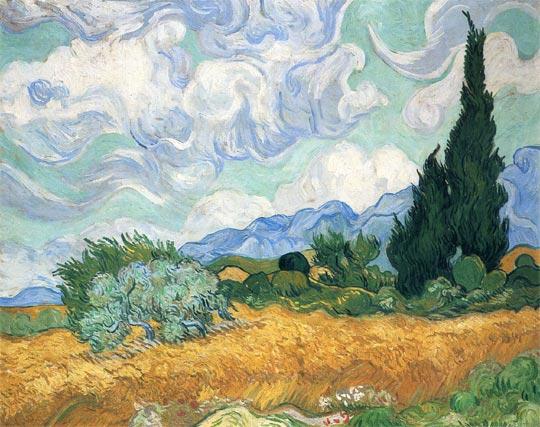 Campo de trigo con cipreses (1889)