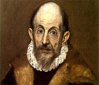 Detalle de un autorretrato de El Greco (c. 1595)
