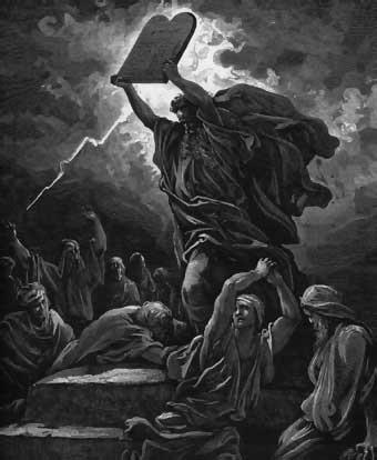 Moisés rompe las tablas de la ley (ilustración de G. Doré)