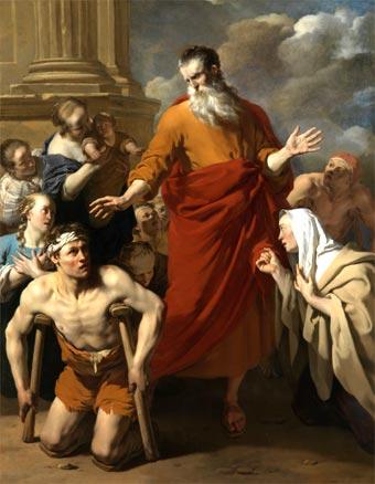 San Pablo curando a un lisiado en Listra (óleo de Karel Dujardin, 1663)