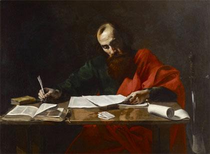 San Pablo escribiendo sus epístolas (óleo atribuido a Valentin de Boulogne, c. 1619)