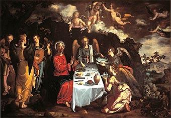 Cristo servido por los ángeles en el desierto (1616)