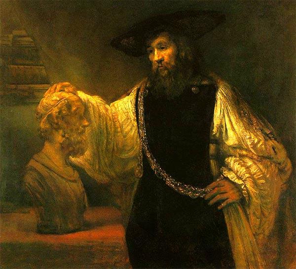 Aristóteles contemplando el busto de Homero