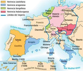 Resultado de imagen de mapa imperio carlos v
