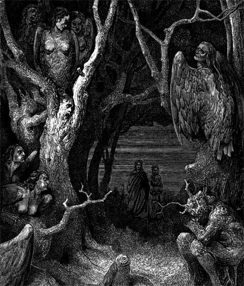 El bosque de las arpías (ilustración de Gustave Doré)