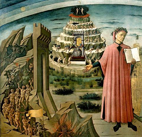 Dante junto a una representación del descenso a los infiernos y del purgatorio (fresco de Domenico di Michelino, 1465)