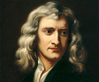 Isaac Newton (recreación de un retrato Godfrey Kneller, 1689)